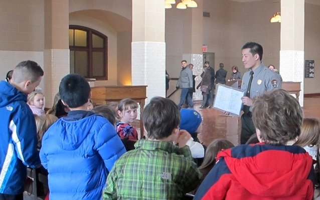 Park ranger with upper elementary school students in the Great Hall