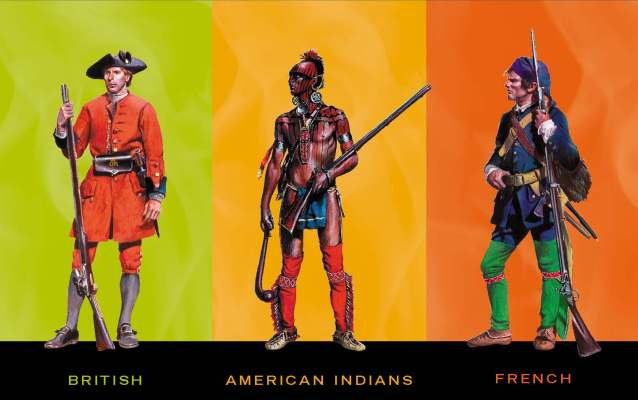 British soldier, American Indian warrior and French soldier