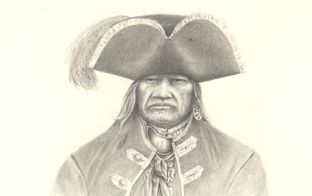 A drawing of the American Indian Scarouady