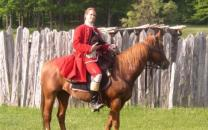 Washington on a horse in front of Fort Necessity