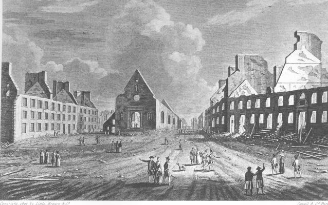 Bombed building in Quebec, 1759