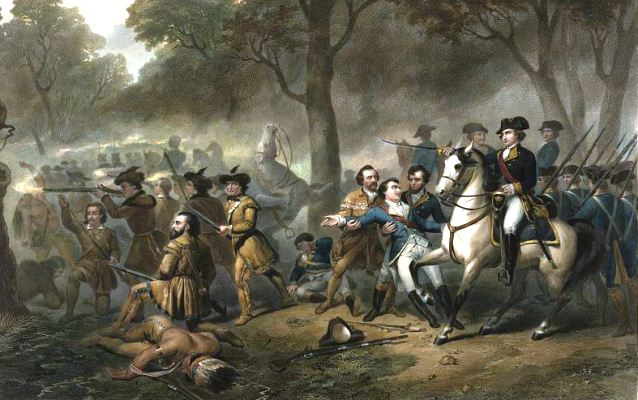 Painting of Washington during the Battle at the Monongahela