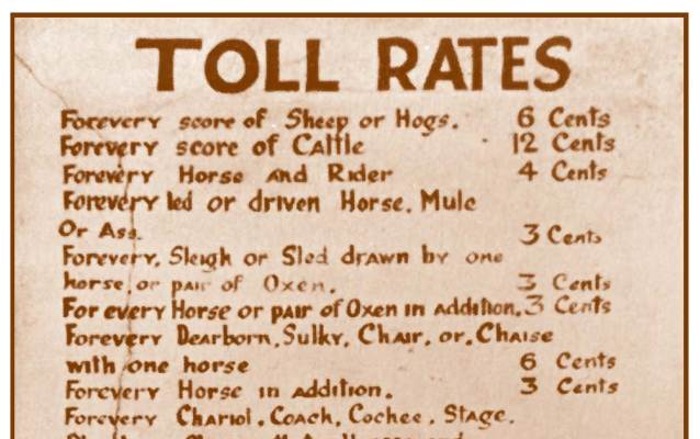Photograph of the toll rates that were posted outside the tollhouses