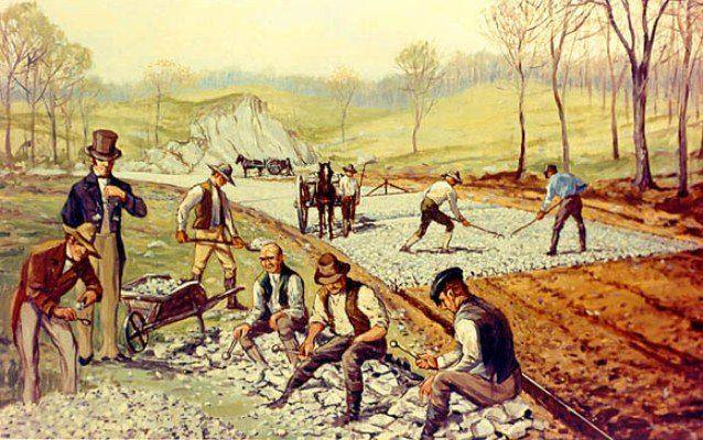 Painting of workers doing several jobs to build the National Road