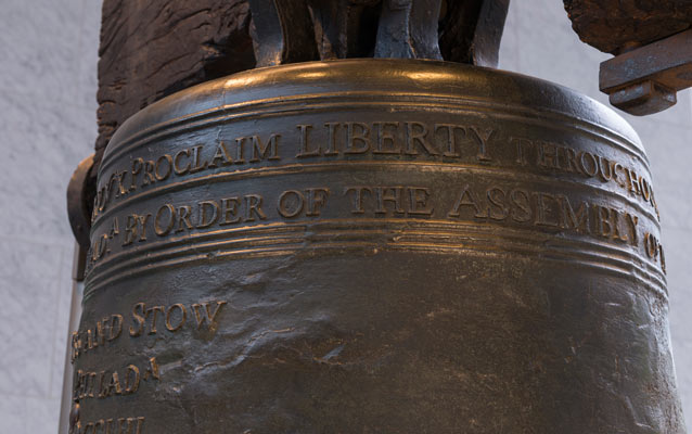Close up of the inscription on the Liberty Bell, focusing on the word