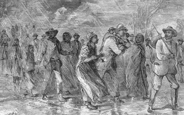 A black and white engraving showing a group of African Americans huddled together.