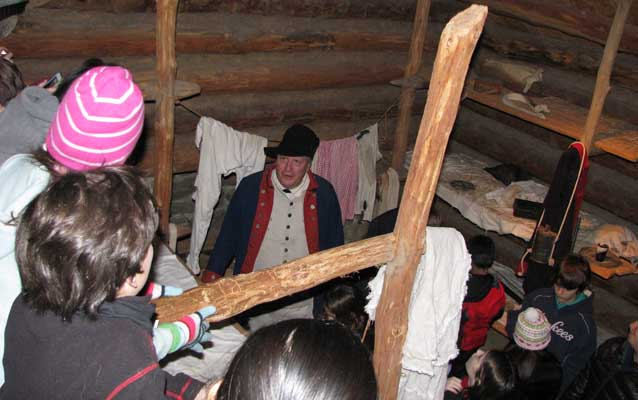 Student's explore soldiers winter quarters.