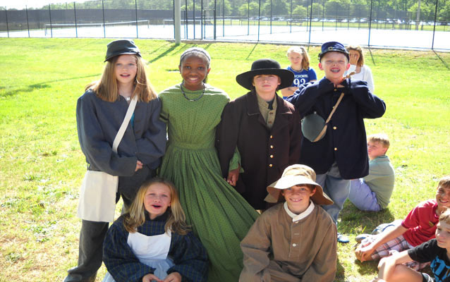 Students Enjoying Dressing Up and Playing With Civil War Toys