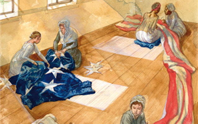 Mary Pickersgill and the members of her household sewing the Star-Spangled Banner Flag.