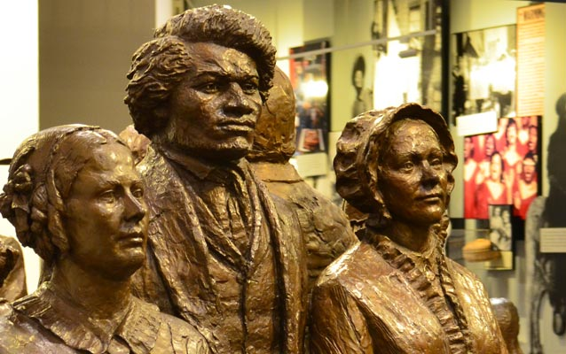 Statue of Frederick Douglass in the lobby of the visitor center of Women's Rights NHP.
