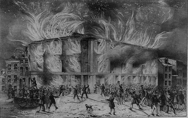Lithograph of the destruction by fire of Pennsylvania Hall, the new building of the Abolition Society, on the night of the 17th May, 1838.