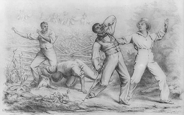 "Lithograph entitled ""Effects of the Fugitive Slave Law"", published in 1850."