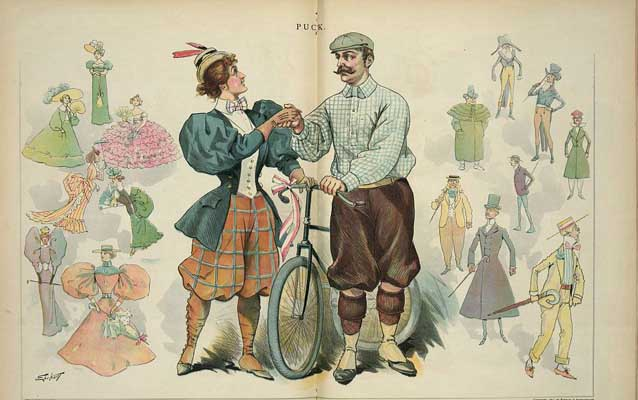 Chromolithograph:  Print shows a man and a woman wearing knickers and bloomers, standing with a bicycle between them, shaking hands.