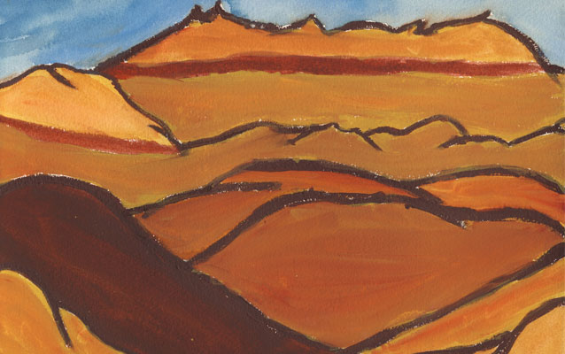 Student painting of Badlands geologic layers.