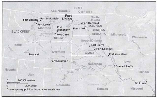 This map highlights the significance of Fort Union's location among the Upper Missouri Plains Tribes.