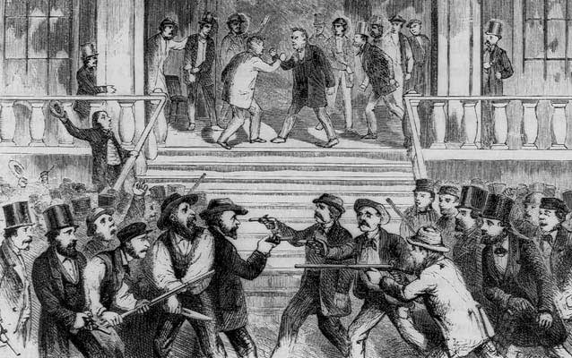 sketch of two groups of men yelling at and drawing guns on each other