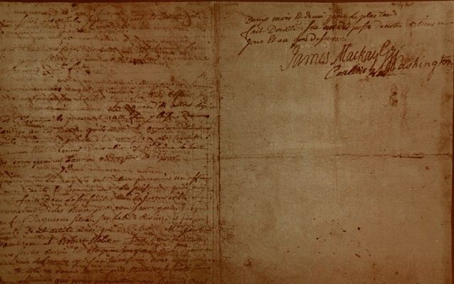 The original surrender document from the Battle of Fort Necessity with George Washingtion's signature
