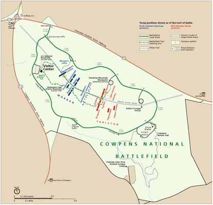 Map of Cowpens National Battlefield found in the brochure
