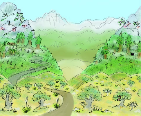 A drawing displaying the three life zones of Sequoia and Kings Canyon national Parks.