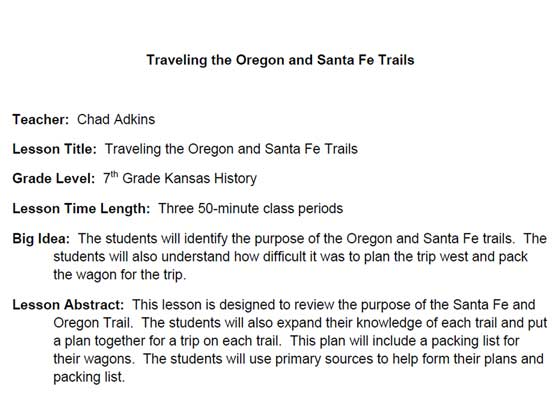 Image of the first page of the lesson plan Traveling the Oregon and Santa Fe Trails