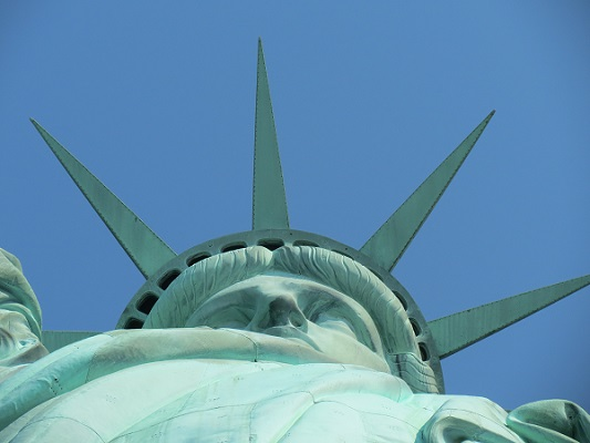 A view of the Statue of Liberty from below.