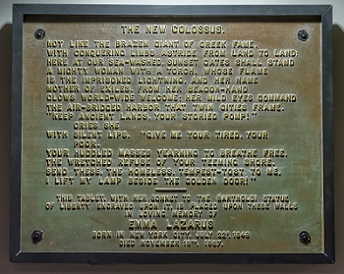 'The New Colossus' plaque in the museum of the Statue of Liberty.