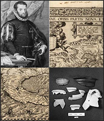 Collage of Santa Elena artifacts, maps, and leader