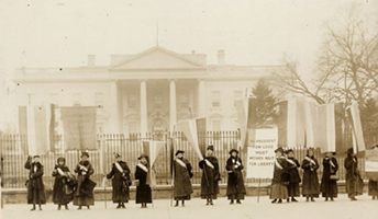 Women's suffrage protest outside White House