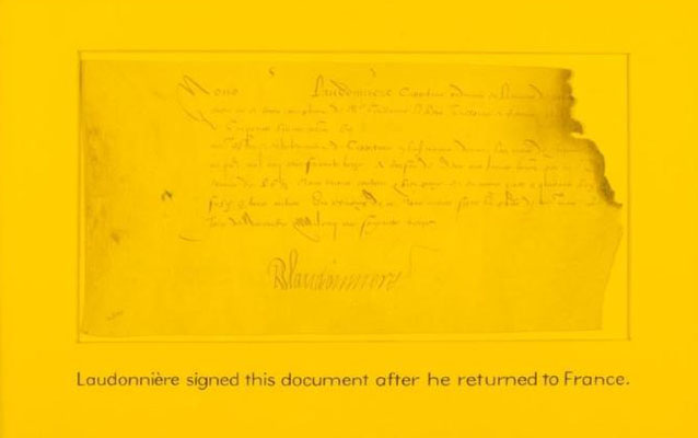The signature of Rene de Laudonniere, leader of the Fort Caroline settlement.