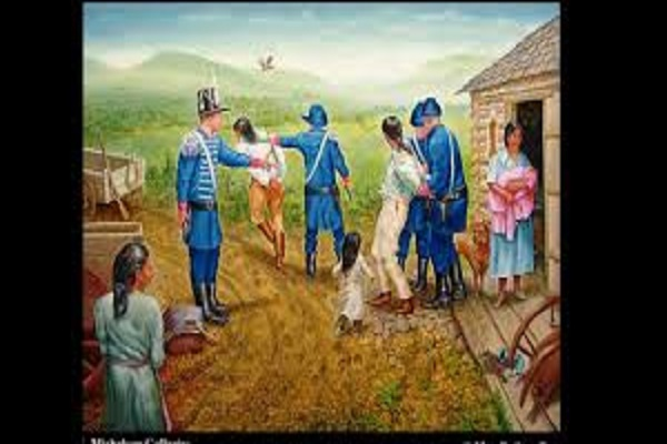 """Forced Move"" by Max Standley. Oil painting of U.S Solidiers forcing Cherokee Indians away from their homes."