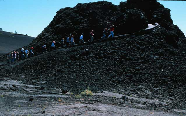 Students climbing a volcano