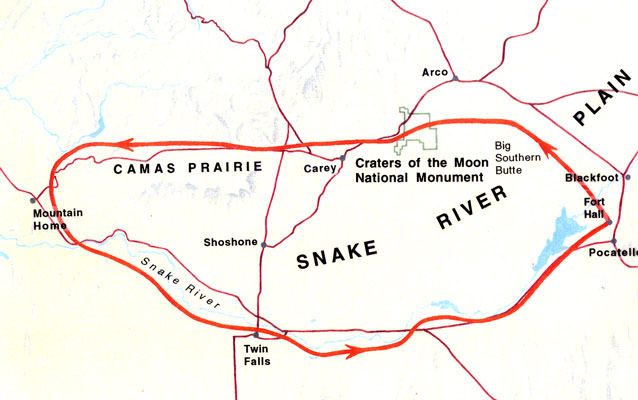 map of Shoshone migration route