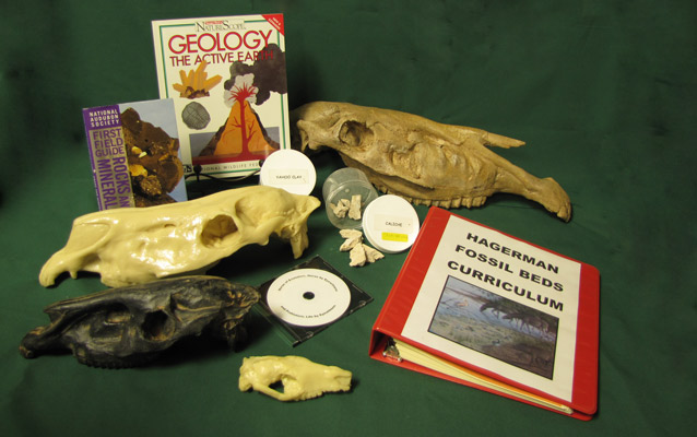 The traveling trunk includes may useful items for teaching about fossils.