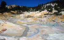 Aqua pools and yellow ground at Bumpass Hell hydrothermal area