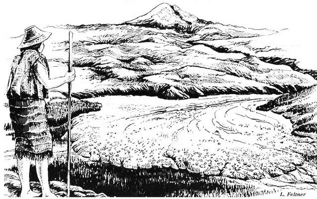 A drawing depicts a figure in Native American clothing observing a lahar spreading across a valley floor with Mount Rainier in the background.