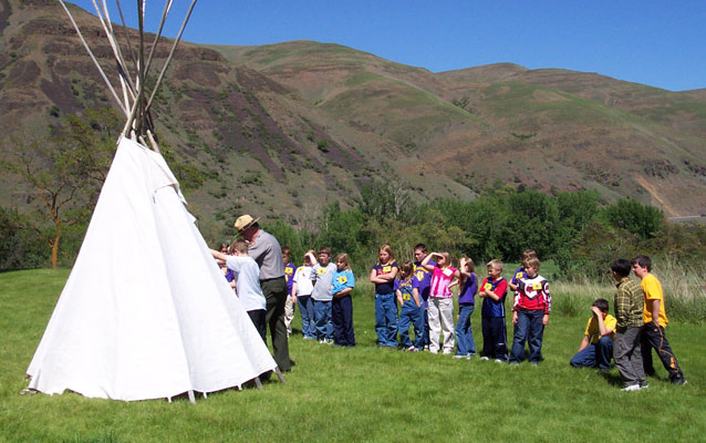 Ranger with school group in front of a tipi.