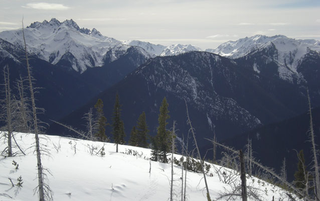 A winter view of the Olympic Mountains.