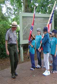 A Park Historian leads a tour at the Fredericksburg battlefield.