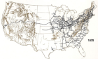 Historic Map, Railroads Routes in 1870