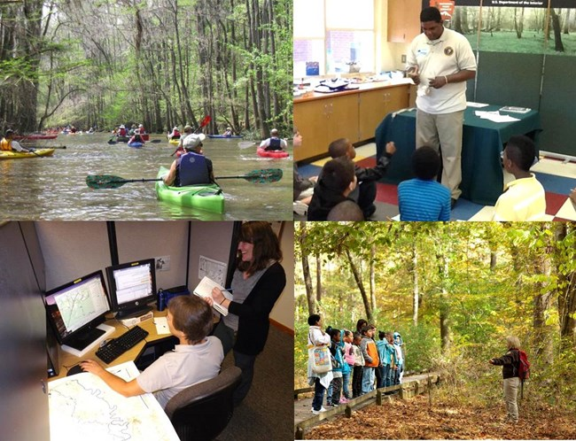 A photo collage showing volunteers helping with canoe tours, library programs, educational tours on the park's trails, and helping with research.