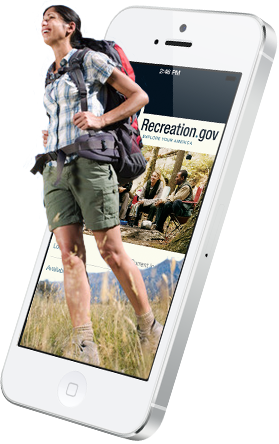 Recreation.gov smartphone with hiker.