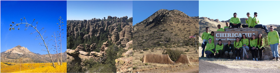 four photos showing park scenery in southern Arizona and youth group in front of Chiricahua NM entrance sign