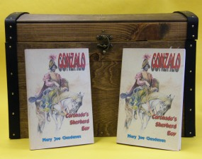 wooden trunk with book entitled Gonzalo:  Coronado's Shepherd Boy