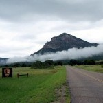 Montezuma Peak and clouds at the entrance to Coronado National Memorial
