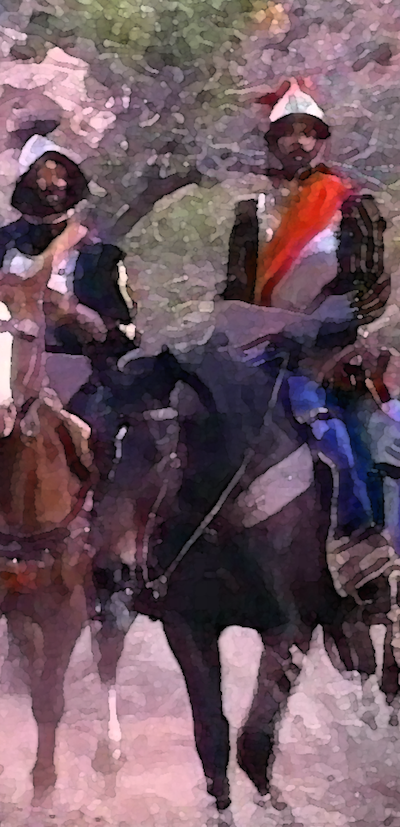 Stylized picture of Coronado on horseback