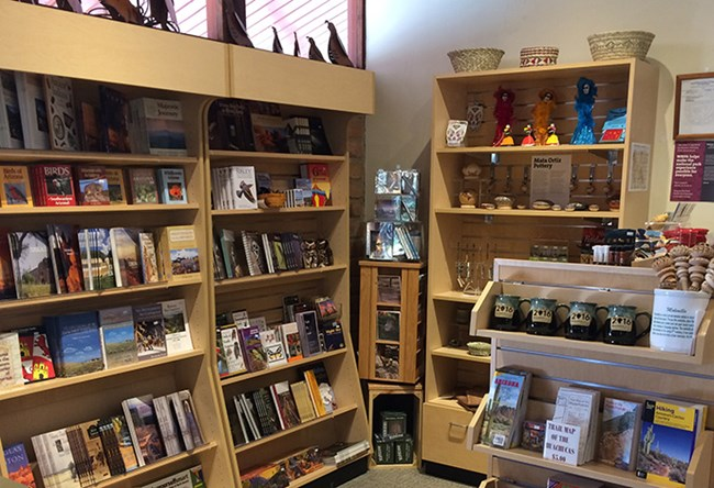 Books and sales items at the bookstore