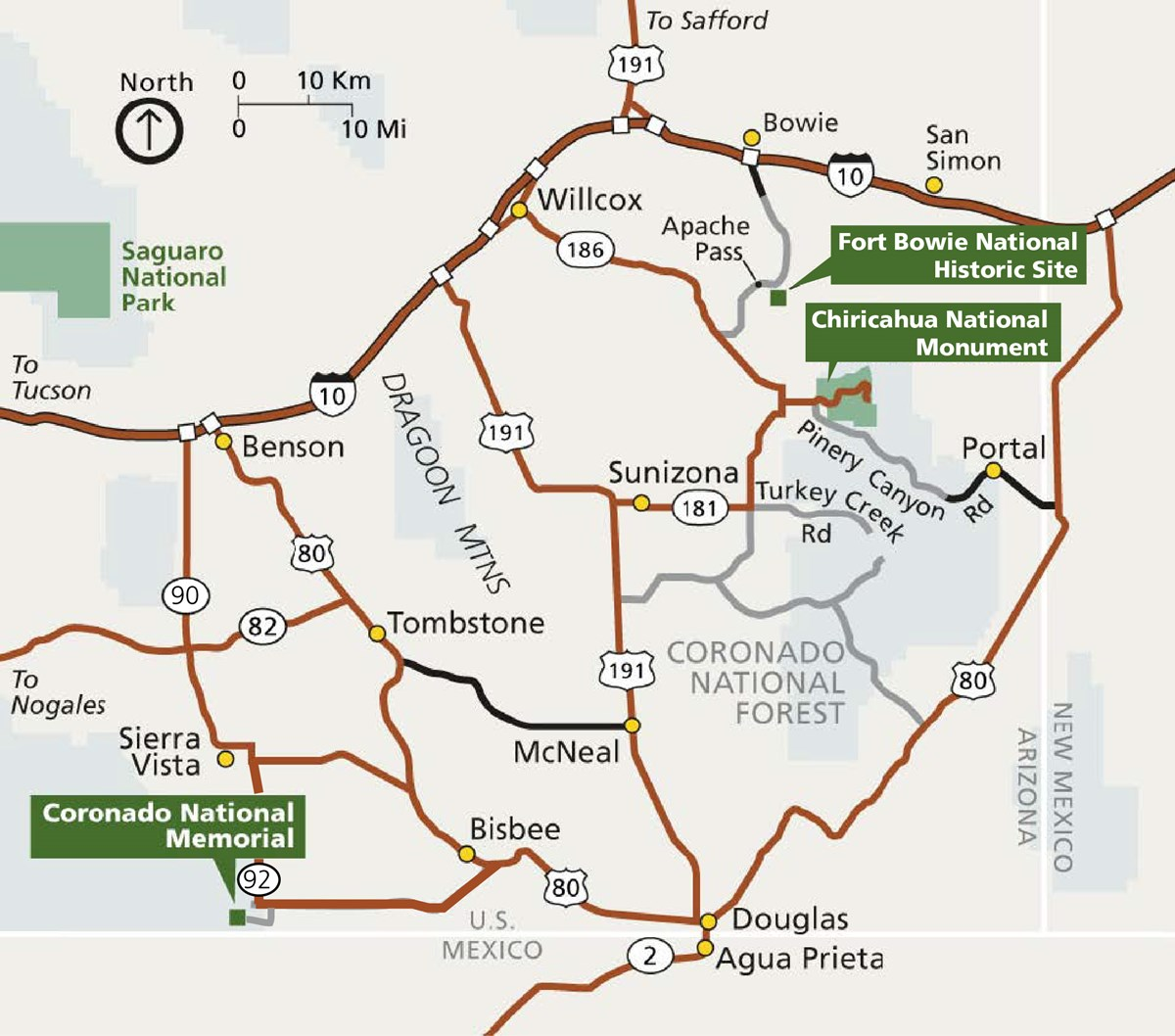 A map of the southeast arizona national parks