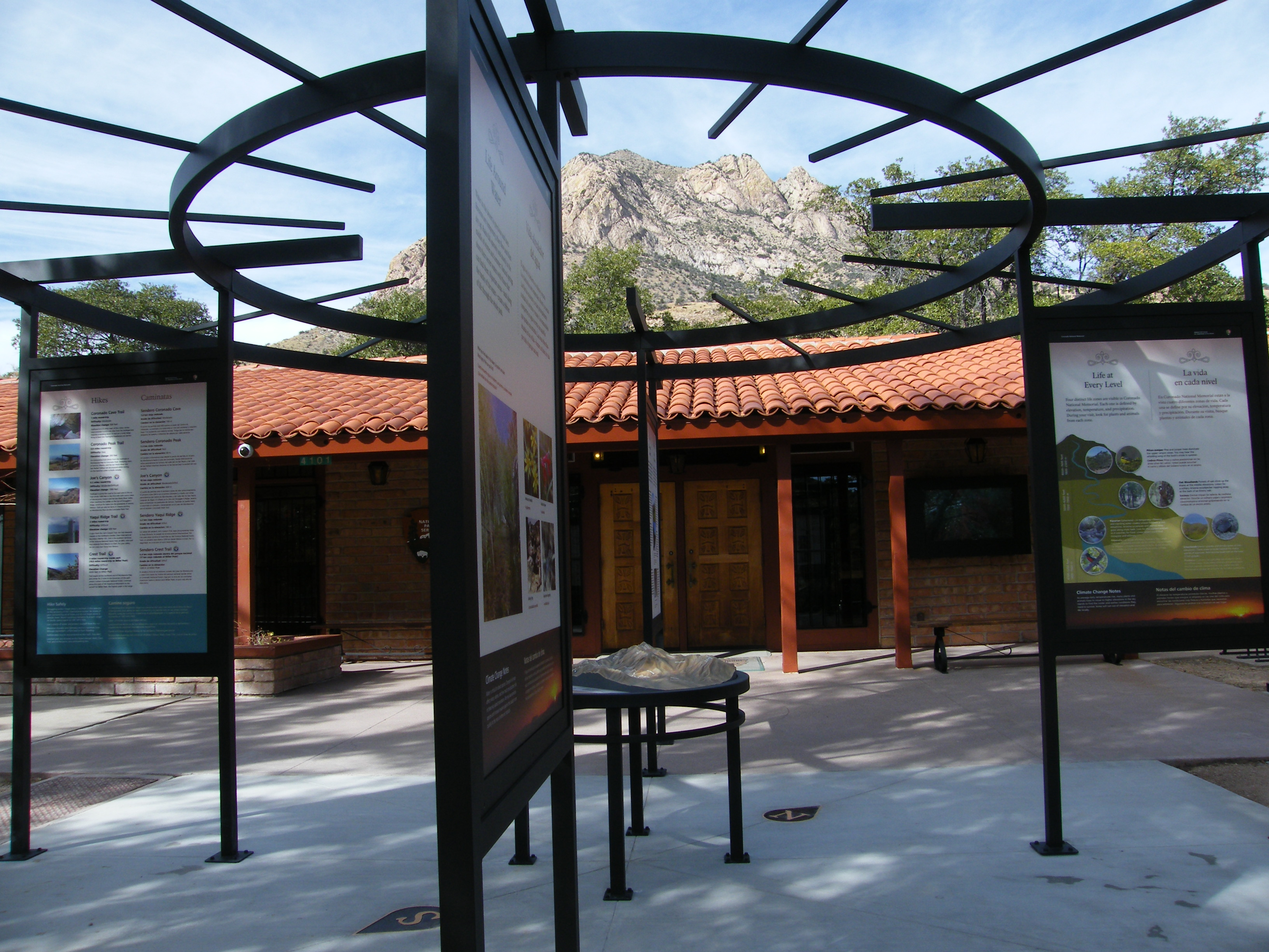 Exhibit panels outside of the visitor center