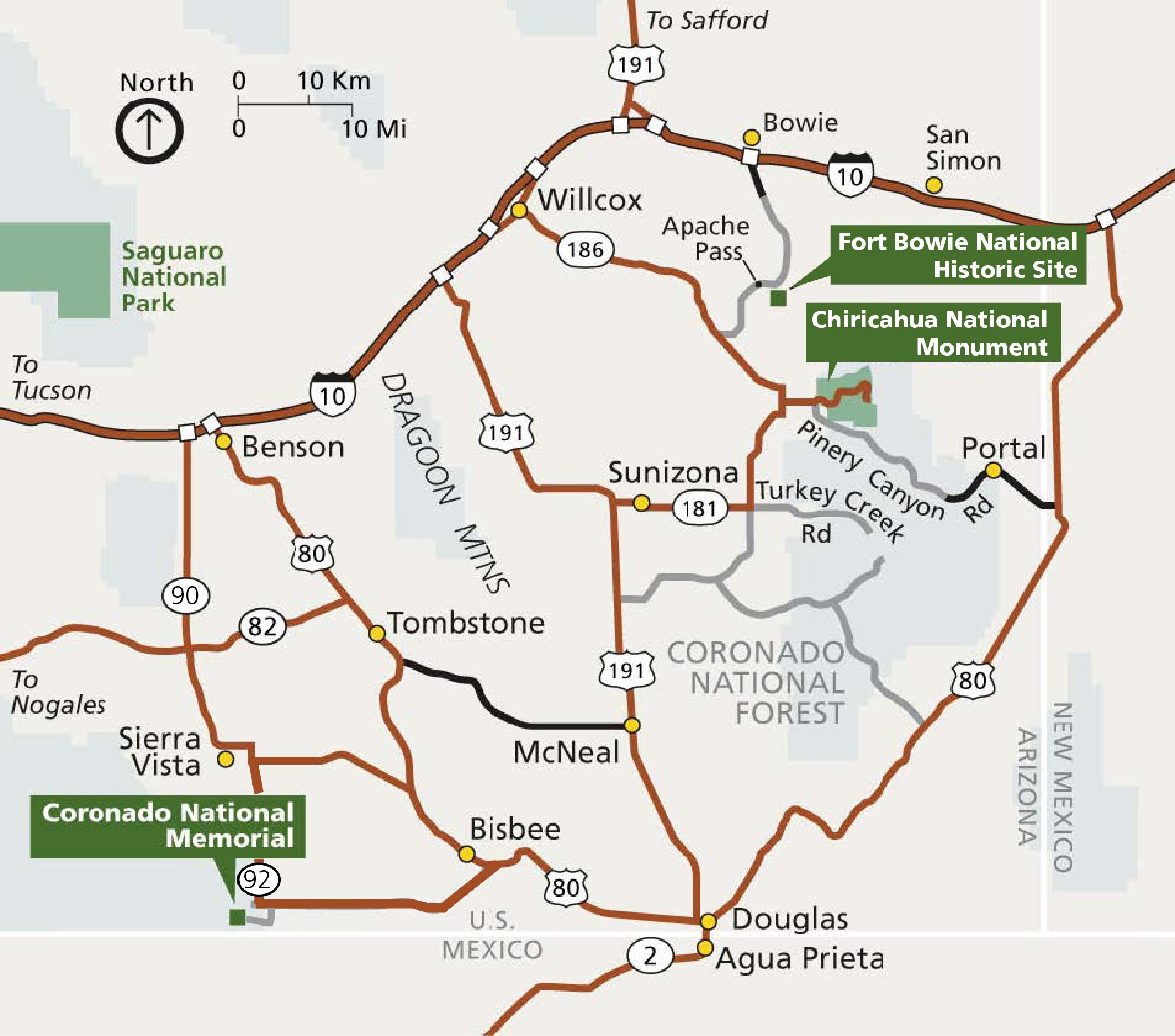 Map of the corner of southeast Arizona
