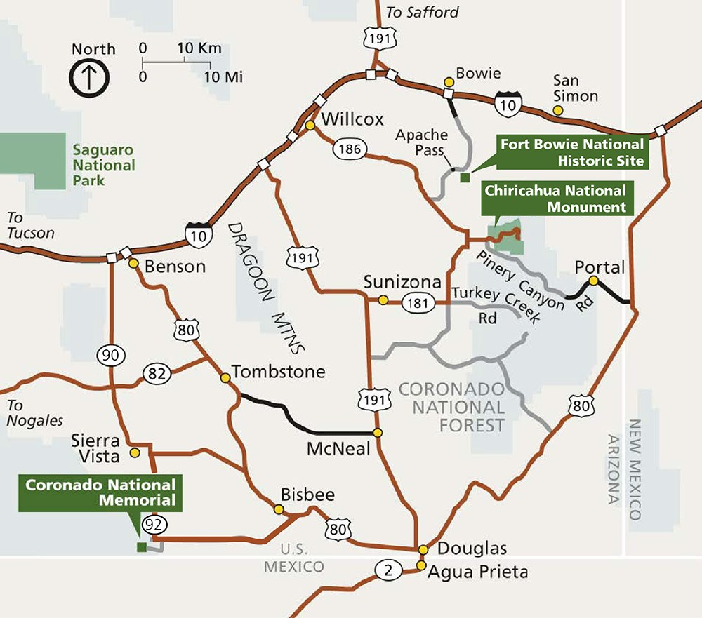 Map of Southeast Arizona in relation to Coronado National Memorial